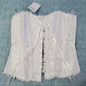 White Daisy Corset With Matching Thong Size XL